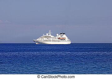 big cruise ship in the sea of greece