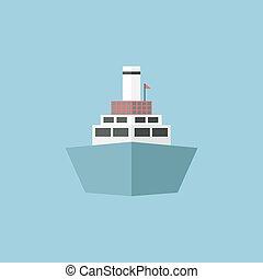 Big cruise ship on the sea or ocean, Vector illustration, flat design