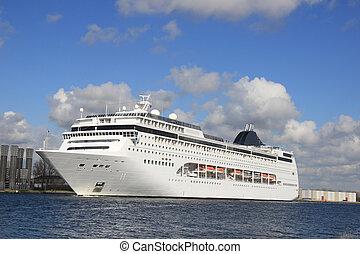 Big Cruiseship in a canal - Big cruiseship in a canal,...