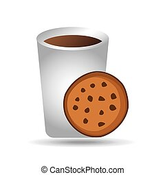 big cup coffee cookie bakery icon design graphic