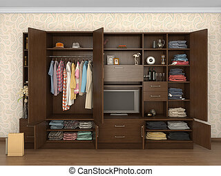 big cupboard open in interior with things; 3d illustration