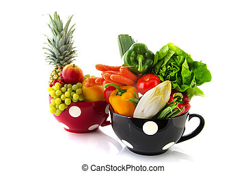 Big cups fruit and vegetables