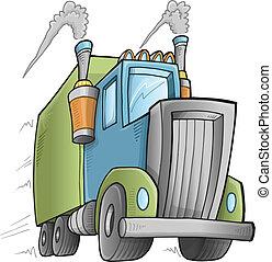 Big Cute Truck Vector Illustration