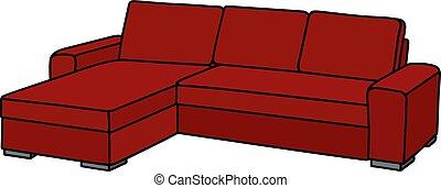 vector illustration of red couch. Black Bedroom Furniture Sets. Home Design Ideas