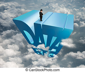 Big data 3D blue word with businessman standing on top