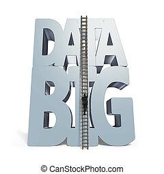 Big data 3D huge word with small businessman climbing ladder