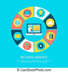 Big Data Analysis Flat Infographic Concept