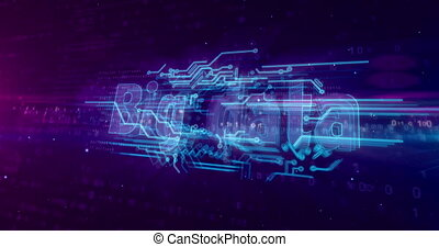 Big data analytics and digital computing 3D animation. Technology abstract concept on binary background.