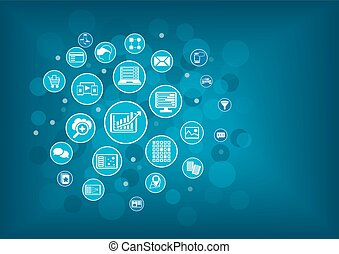 Big data analytics background concept. Blue circles and bubbles as vector illustration.