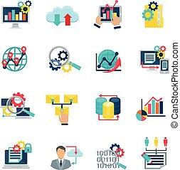 Big Data Analytics Flat Icons
