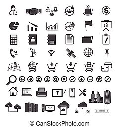 Big Data and business icons set