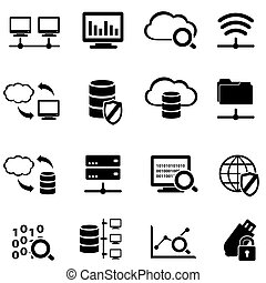 Big data and cloud computing icon set