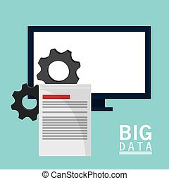 big data comuter gears document vector illustration eps 10