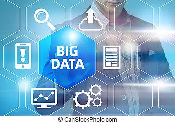 Big data concept man selecting and pressing Big Data symbol
