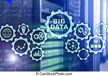 Big Data Concept of hi tech and innovation in business and production. Virtual screen on data center server background.