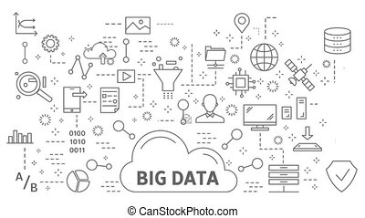 Big data concept flat line animation with icons appearing.