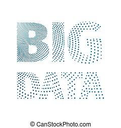 Big data conceptual inscription from a set of blue dots