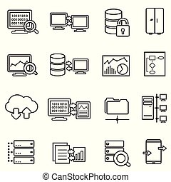 Big data, data analysis and data security line icons