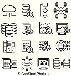 Big data, data analysis, computer and cloud computing line icons