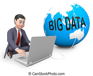 Big Data Globe Worldwide Computing 3d Rendering