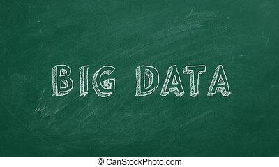 Big Data - Hand drawing and animated text BIG DATA on green ...