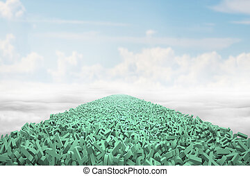 Big data highway concept, huge amount of green letters and numbers form a road in the air, with blue sky clouds background.