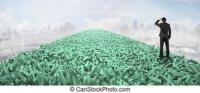 Big data highway, information analysis and restructuring concept, businessman looking for direction on the road of huge amount of green letters and numbers in the air, with clouds sky cityscapes background.