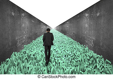 Big data highway concept, businessman walking on the road of huge amount of 3d green letters and numbers, with doodles concrete wall on both side and blank white background.
