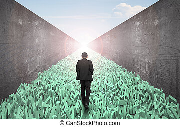 Big data highway concept, businessman walking on one way road of huge amount of 3d green letters and numbers, toward the exit of sunlight sky view, with doodles concrete wall on both side.