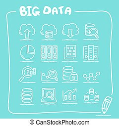 Big Data icon doodle set