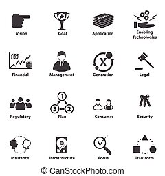 Big Data icon set, Business IT Stra