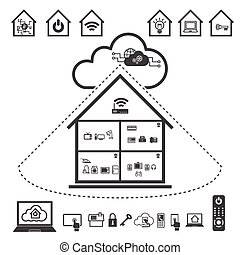 Big Data icon set, Cloud computing