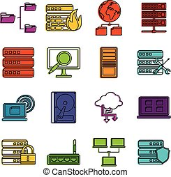 Big data icons doodle set