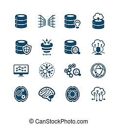 Big data icons || MICRO series - Big data, cloud sharing and...