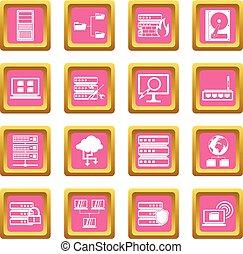 Big data icons pink