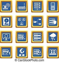 Big data icons set blue