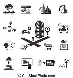 Big Data icons set, Business and te