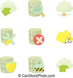 Big data icons set, cartoon style