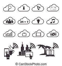 Big Data icons set, Cloud computing