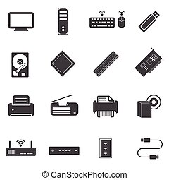 Big data icons set, Computer device