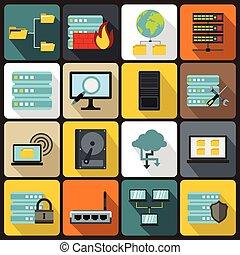 Big data icons set, flat style