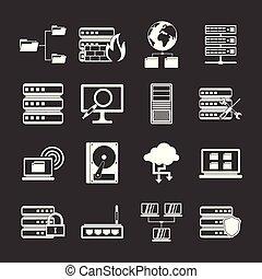 Big data icons set grey vector