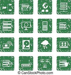 Big data icons set grunge