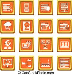 Big data icons set orange