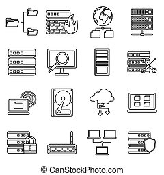 Big data icons set, outline style