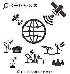 Big Data icons set, Satellite