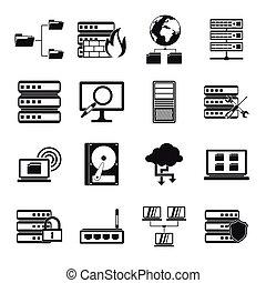 Big data icons set, simple style