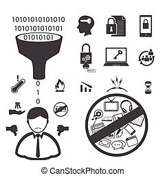 Big Data icons set, User Customer