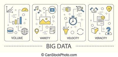 Big data illustration. Areas like volume and variety, ...