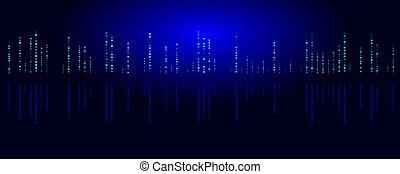 Big Data illustration. Night city abstract background